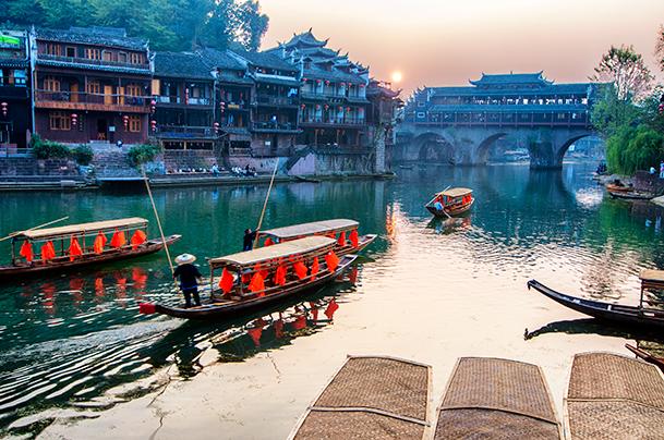 Tuo Jiang River Bridge at Sunset