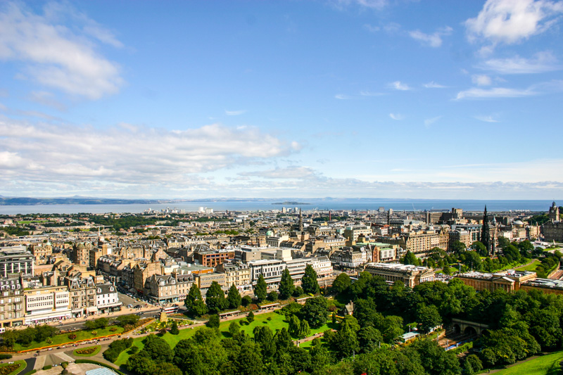 Edinburgh with West Princes Street Gardens below, Scotland