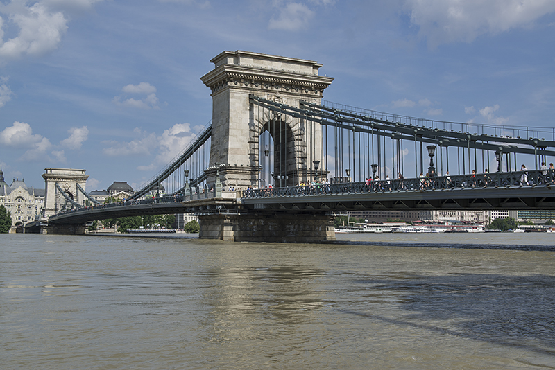 Chain Bridge, before flood and during