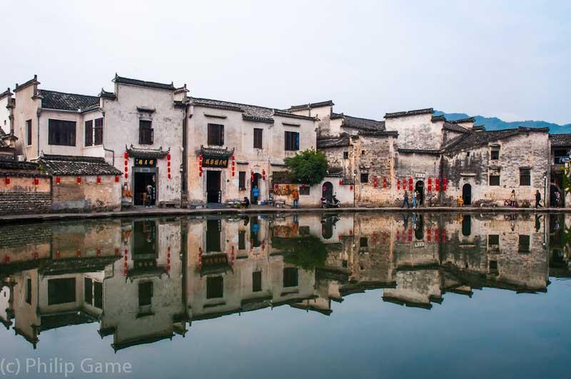 A moon-shaped lake at the heart of  Hongcun