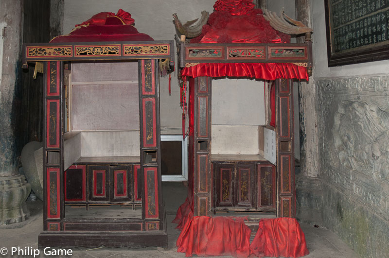 Sedan chairs housed in an ancestral hall, Xidi
