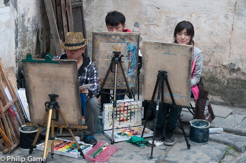 Art students working at Xidi