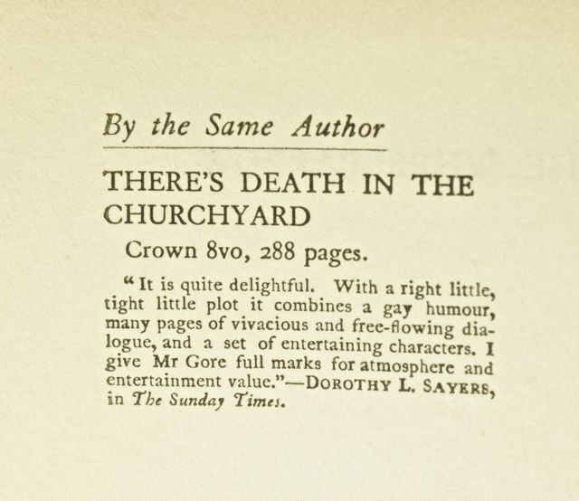 Dorothy Sayers review of Theres Death in the Churchyard