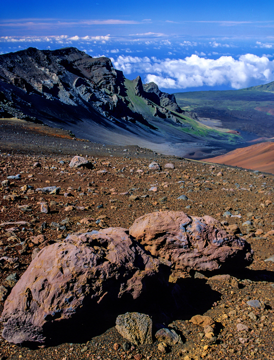 (IG34) Fusiform volcanic bombs and blocks litter the surface at Haleakala National Park, HI
