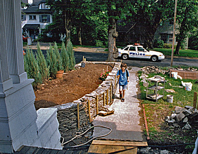 Building the front wall with Ian (2000)