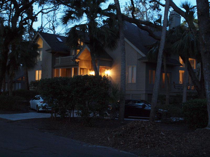 The house as the sun sets