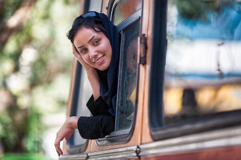 Woman on bus - Hamedan