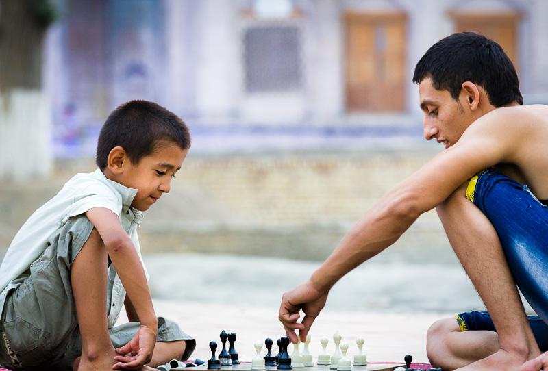 Playing chess - Uzbekistan