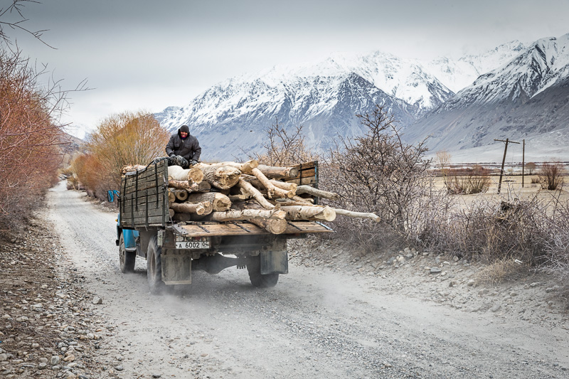 Truck carrying logs - Wakhan Valley