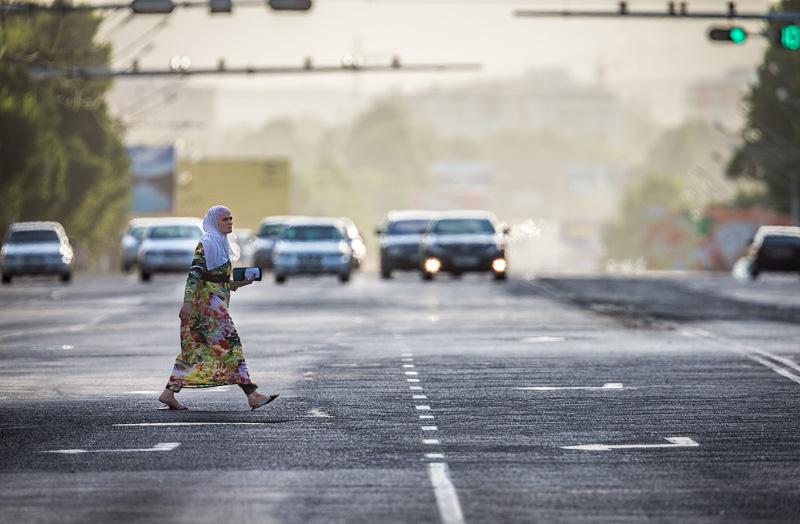 Woman crosses road - Dushanbe