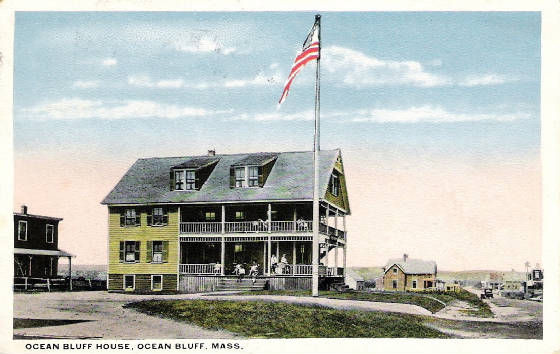 Ocean bluff House with Flag