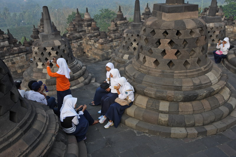 At Borobodur Temple, Java Island, Indonesia