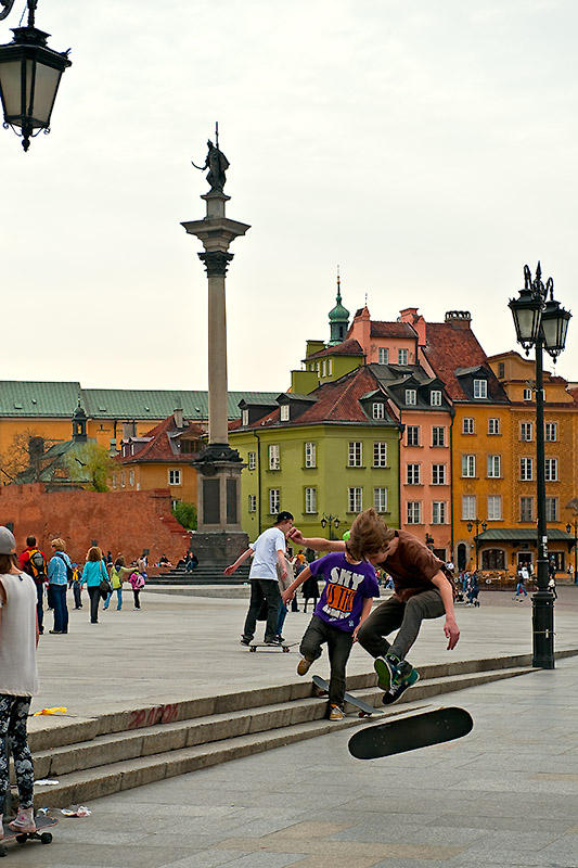 Skateboarders On Royal Castle Square