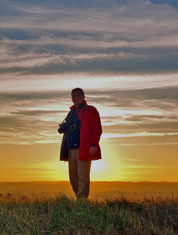 Golden Man In Sunset