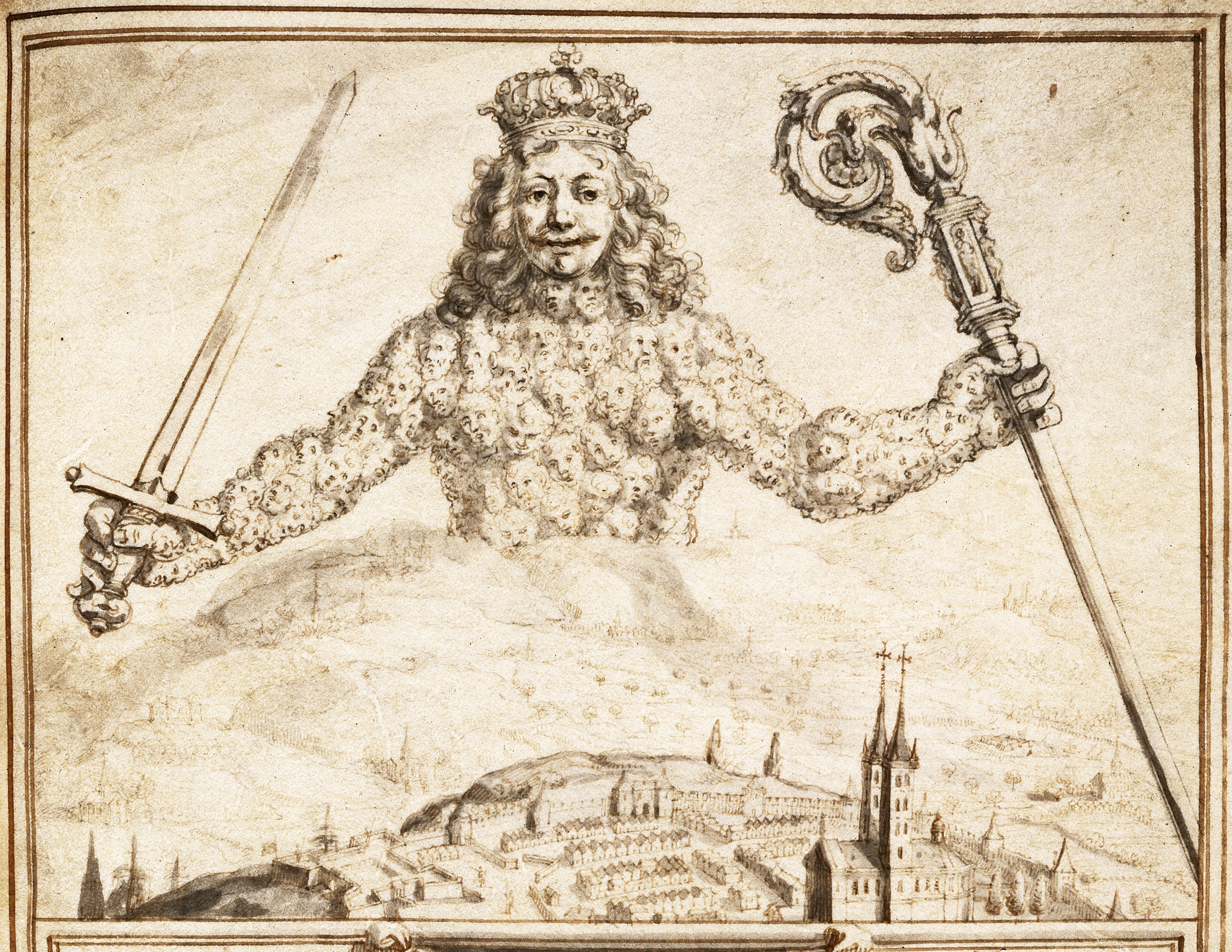 Figure 3. Drawing of frontispiece of  Leviathan, 1651. Copyright: The British Library Board. Egerton 1910 F1