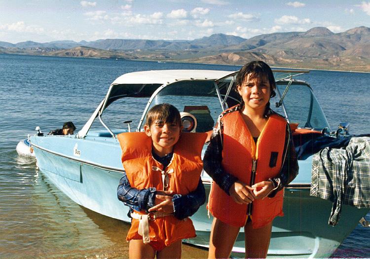 1985 Leah and Margaret. Roosevelt Lake
