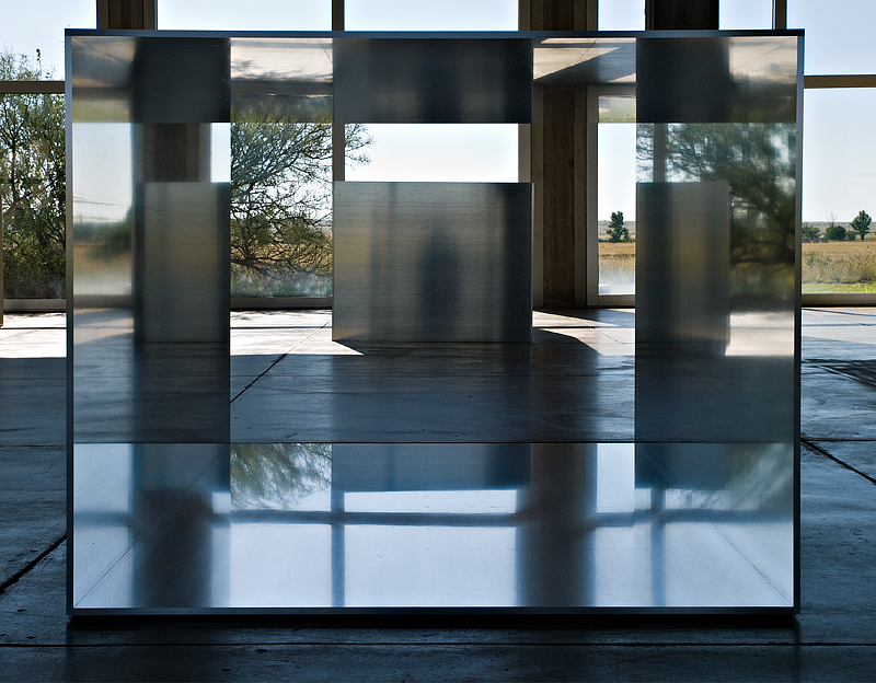 Looking inside one of Donald Judds cubes at The Chinati Foundation in Marfa, Texas #2
