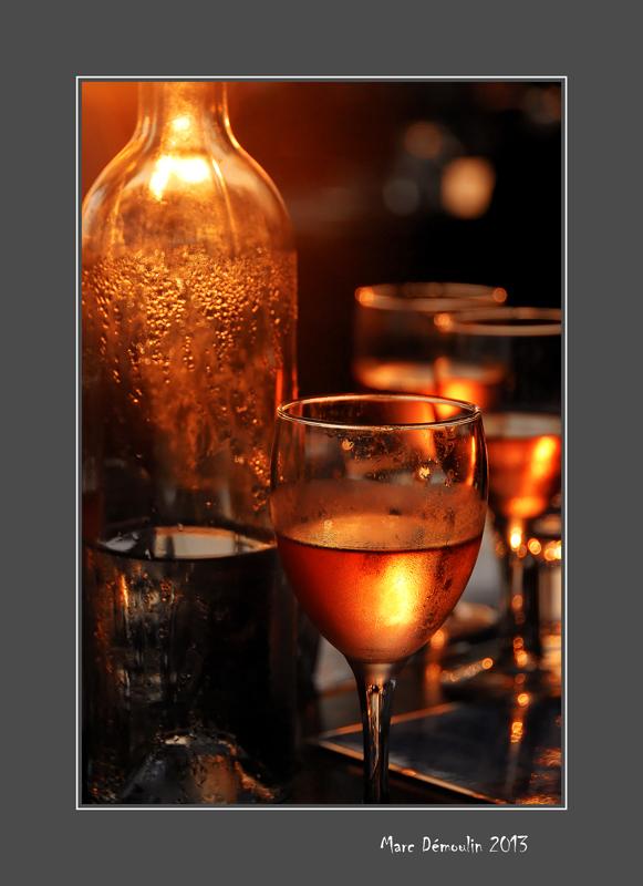 Rose wine in sunset