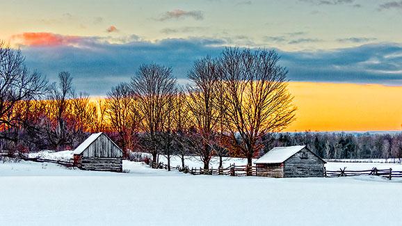 Winter Farmscape At Sunrise 20150309