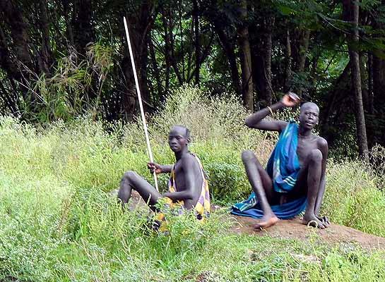 Surma men;  south-western Ethiopia.