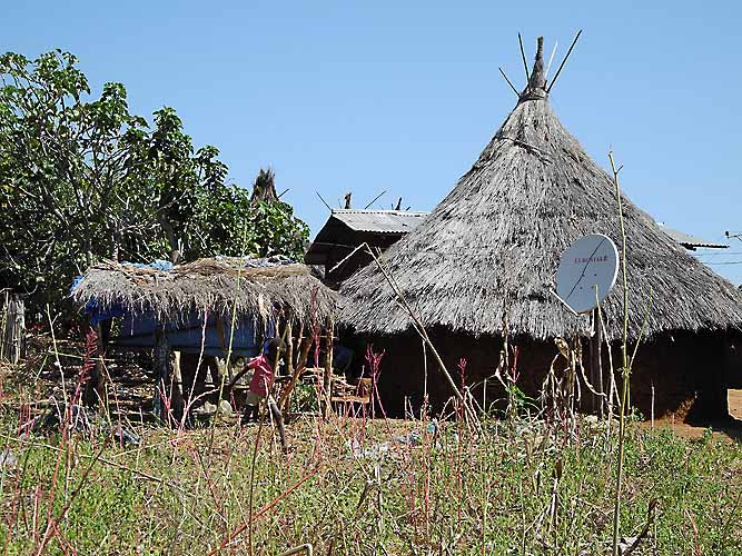 Modern meets tradition in the Berta village Bame-Sherqole. Ethiopia.