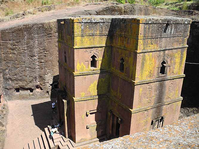 Lalibela's most famous rock-hewn church Bet Giyorgis (St Georges church). Ethiopia.