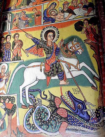 St George killing the dragon. Painting in Azwa Mariam monastery, Zeghie Peninsula, Tana Lake. Ethiopia.