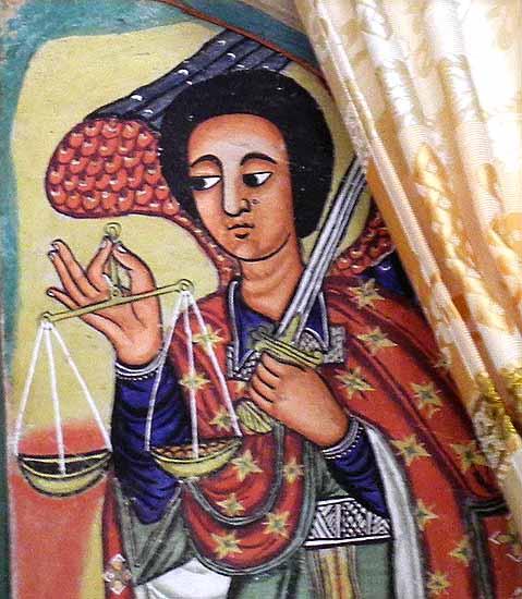 Painting of the archangel Michael in Azwa Mariam monastery, Zeghie Peninsula, Tana Lake. Ethiopia.