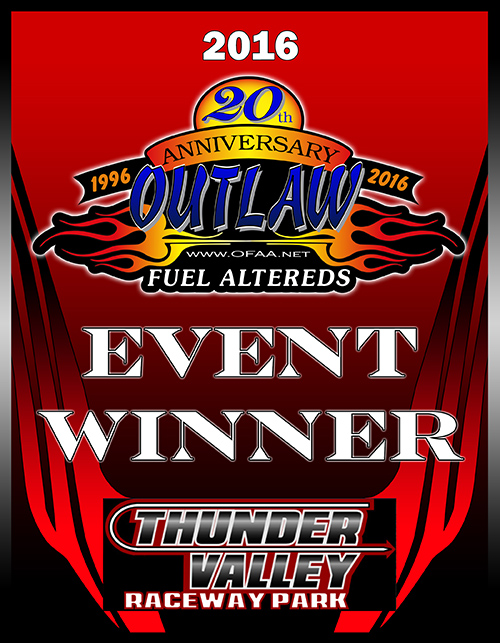 2016 Outlaw Fuel Altered Event Winner Plaque