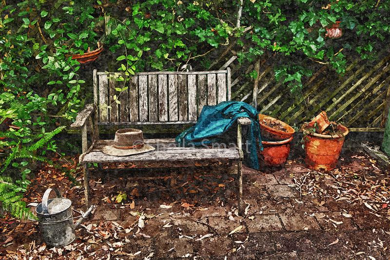 Garden bench with oil painting effect