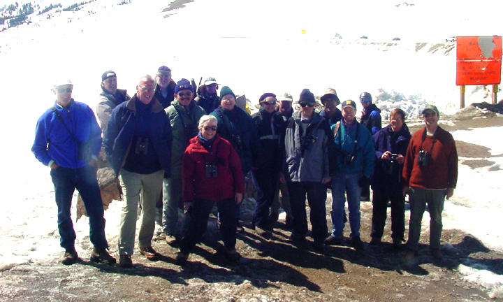 The Colorado birding trip group at Loveland Pass elevation 11,000 ft.