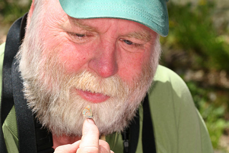 Dave with a friendly early hairstreak