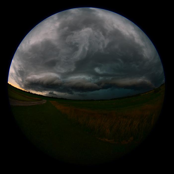 Approaching Thunderstorm Fisheye Perspective