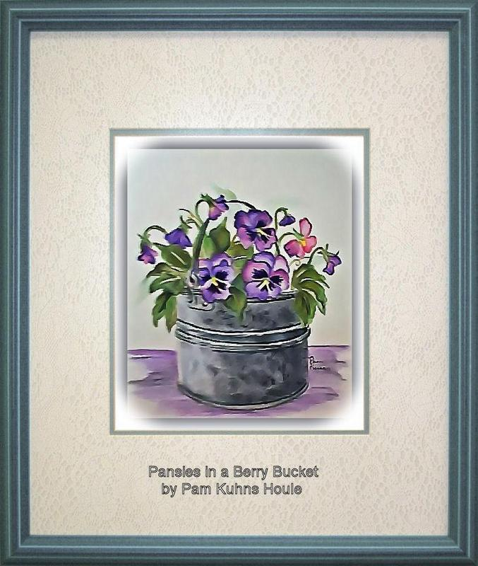 Pansies in a Berry Bucket