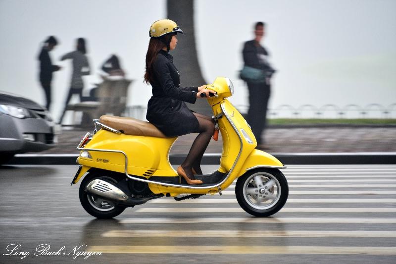stylish scooter rider, Hanoi, Vietnam