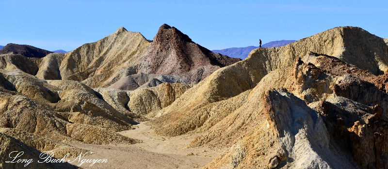 Admiring the landscape, Black Mountains, Death Valley National Park, California