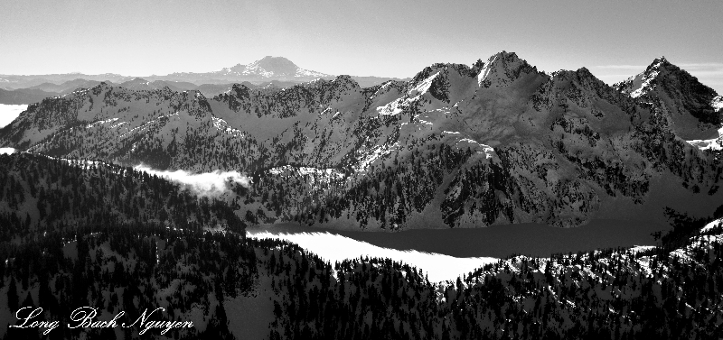 Snow Lake, Kaleetan Peak, Chair Peak, Denny Mountain, Mount Rainier, Cascade Mountains, Washington