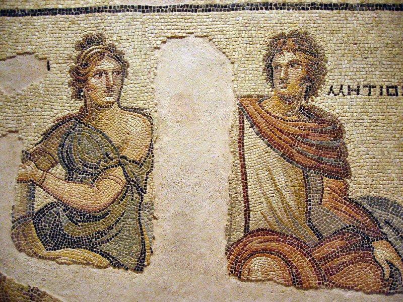 Stolen but found Parthenope and Metiochus ( Metiokhos )