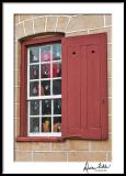 Old Salem Window with Red Shutters