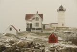 399DSC00804.jpg Man rescuing his Dog Nubble  Lighthouse Snow Storm Cape Neddick Maine