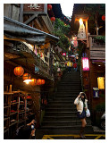A charming stairs leads to the shops