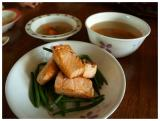 Pan fried salmon, accompanied with clear vegetable soup