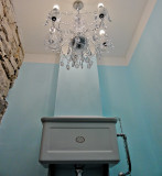 Period style toilet, with chandelier. :)