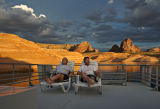 Enjoying the sunset (and margaritas) from the top deck of the houseboat