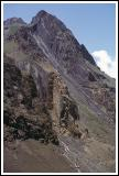 Vertical bedding of sediments near mid-point of the Cajon del Maipo.