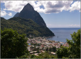 A View of Soufrière from the Qualibou Restaurant