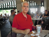 Jim having cafe au lait & beignets at the Cafe du Monde