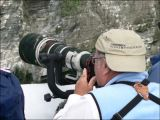 Tom capturing the Gannets and Murres in the Westermann Isles