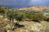 Mer de Galilée, plateau de Golan depuis Um Quais (Jordanie)