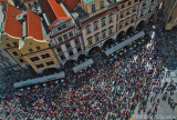 Crowds Watching Astronomical Clock. Old City Hall, Prague